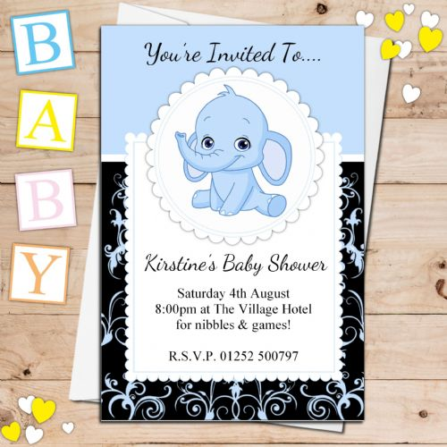 10 Personalised Cute Blue Elephant Baby Shower Invitations N23